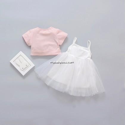 Girl Bunny Pink Shirt with White Tutu Dress (2-pcs)