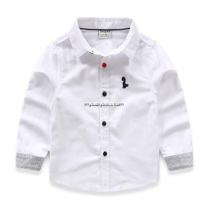 Little Dinosaur Boy Shirt (Blue/White)
