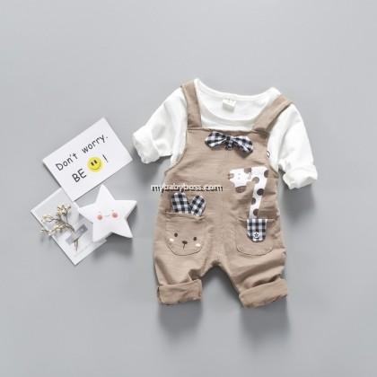 Bunny & Giraffe Toddler Jumpsuit set (Grey/ Brown -2 pcs)