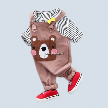 Cute Bear Toddler Jumpsuit Set (Brown/Pink)