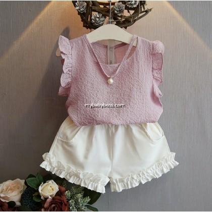 Korean Style Girl Sleeveless Short-pant Matching Set (Pink & Blue)