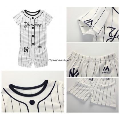 Yankees Baseball uniform Clothing Set (White)
