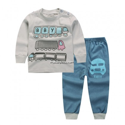 Vehicles A009 Baby & Toddler Sleepwear (Grey & Blue)