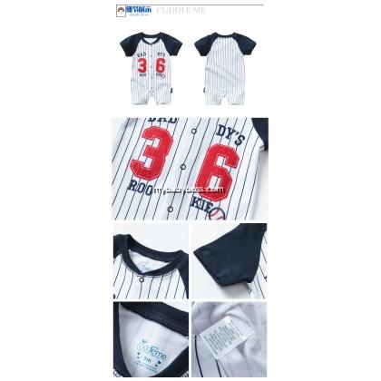 Cuddle Me Rookie Baseball 36 Uniform Baby Romper (Dark Blue)