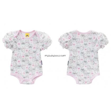 "Cuddle Me ""Cats"" Design Baby Romper (Pink neck color)"