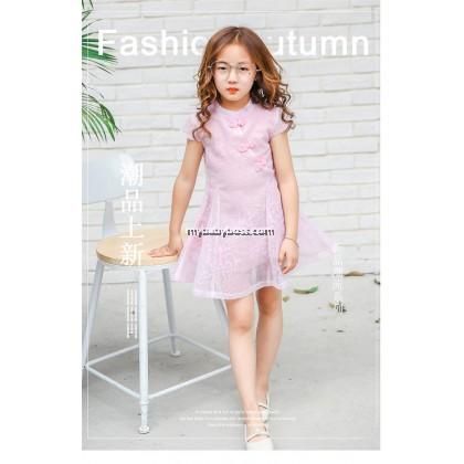 Chinese Style Double Layer Girl Chiffon Dress