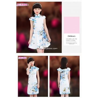 Traditional Girl Cheongsam Blue Floral