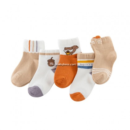 FS306 Pine Cone Squirrel Toddler socks